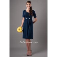 Modest Scoop Neck Short Sleeves Navy Blue Bridesmaid Dress With Belt