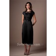 Modest Sheath Black Satin Lace Tea Length Party Bridesmaid Dress With Bow Belt