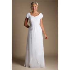 Modest Sheath Cap Sleeve White Chiffon Destination Beach Wedding Dress