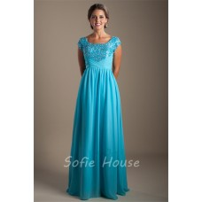 Modest Sheath Square Neck Cap Sleeve Long Turquoise Chiffon Corset Prom Dress