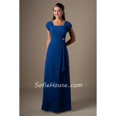 Modest Sheath Square Neck Cap Sleeve Royal Blue Chiffon Long Bridesmaid Dress