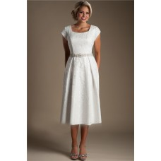 Modest Sheath Square Neck Cap Sleeve Tea Length Lace Beach Garden Wedding Dress