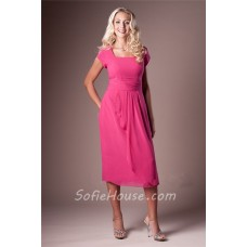 Modest Sheath Square Neck Hot Pink Chiffon Short Sleeve Party Bridesmaid Dress