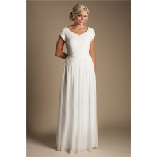Modest Sheath Sweetheeart Cap Sleeve Chiffon Lace Beach Garden Wedding Dress