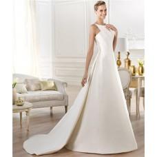 Modest Simple A Line Bateau Neck Satin Wedding Dress With Detachable Train Buttons
