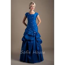 Modest Trumpet Square Neck Cap Sleeve Royal Blue Taffeta Prom Dress Corset Back