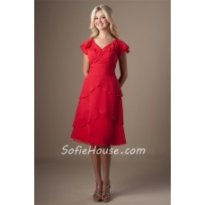 Modest V Neck Red Chiffon Layered Ruffles Short Party Bridesmaid Dress With Sleeves