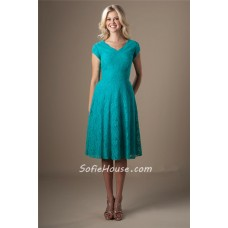 Modest V Neck Short Sleeves Turquoise Lace Wedding Party Bridesmaid Dress