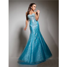 New Mermaid Sweetheart Long Blue Sparkly Evening Prom Dress With Beading Sequins