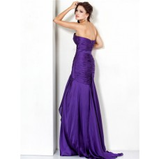 Nice Sheath Sweetheart Long Purple Chiffon Ruched Evening Wear Dress