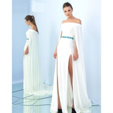 Off The Shoulder Side Slit White Jersey Beaded Belt Prom Dress With Cape