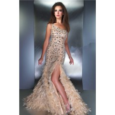 One Shoulder Cut Out Long Champagne Nude Feather Crystal Prom Evening Dress Slit