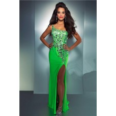 One Shoulder See Through Back Long Neon Green Chiffon Sequin Crystal Prom Dress