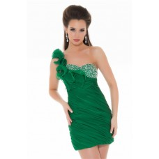 One Shoulder Short Emerald Green Chiffon Beaded Ruffle Cocktail Party Dress