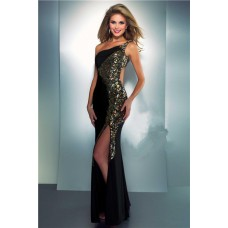 One Shoulder Side Cut Out Slit Long Black Chiffon Gold Sequin Evening Prom Dress