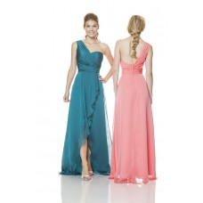 One Shoulder Strap Long Jade Green Chiffon Ruffle Occasion Bridesmaid Dress With Slit