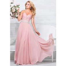 Perfect A Line Strapless Sweetheart Long Blush Pink Chiffon Beaded Prom Dress