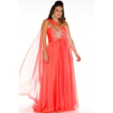 Pretty A Line Sweetheart Long Coral Chiffon Beaded Plus Size Party Prom Dress With Shawl