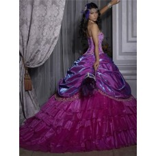 Pretty Ball Gown Purple Beading Organza Quinceanera Dress With Detachable Skirt