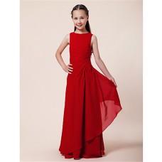 Pretty Sheath Long Red Chiffon Junior Bridesmaid Dress