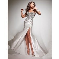 Pretty Sheath Sweetheart Long White Silk Party Prom Dress With Beading Sequins Slit