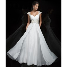 Princess A Line Cap Sleeve Sweetheart Long White Chiffon Beading Evening Prom Dress