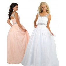 Princess A Line Open Back Corset Long White Tulle Beaded Teen Prom Dress