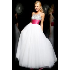 Princess A Line Spaghetti Straps Long White Tulle Beaded Prom Dress With Sash