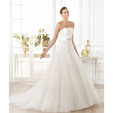 Princess A Line Strapless Glitter Tulle Flower Wedding Dress With Crystal Sash