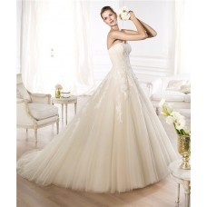 Princess A Line Strapless Off The Shoulder Ivory Layer Tulle Lace Wedding Dress
