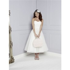 Princess A Line Strapless Sweetheart Tea Length Lace Tulle Beach Wedding Dress Sash