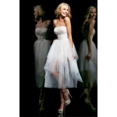 Princess A Line Strapless Tea Length Champagne White Tulle Sequins Prom Dress