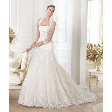 Princess A Line Strapless Tulle Lace Wedding Dress With Long Sleeves Jacket