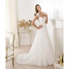 Princess A Line Sweetheart Cap Sleeve Open Back Tulle Lace Wedding Dress