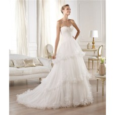 Princess A Line Sweetheart Feather Neckline Layered Tulle Wedding Dress With Flowers