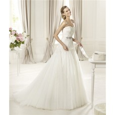 Princess A Line Sweetheart Flowing Tulle Lace Wedding Dress With Sash Bow