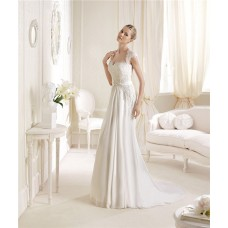 Princess A Line Sweetheart Neckline Cap Sleeve Lace Chiffon Wedding Dress Keyhole Open Back