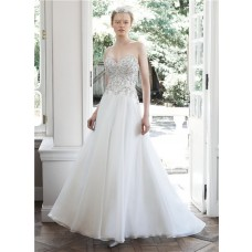 Princess A Line Sweetheart Organza Lace Beaded Wedding Dress