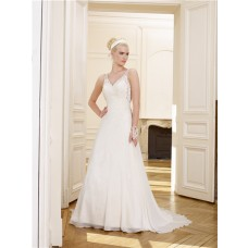 Princess A Line V Neck Low Back Chiffon Lace Wedding Dress With Sheer Straps Bow