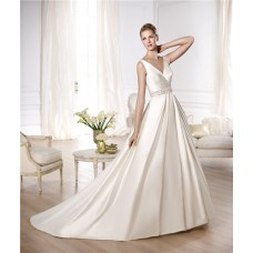 Princess A Line V Neck Open Back Ruched Satin Beaded Wedding Dress