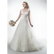 Princess A Line V Neck Sheer Back Cap Sleeve Lace Wedding Dress