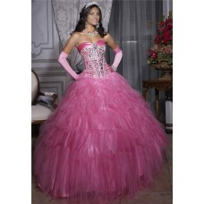 Princess Ball Gown Pink Tulle Crystal Quinceanera Dress With Corset