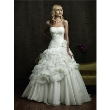 Princess Ball Gown Strapless Puffy Organza Wedding Dress With Feathers Flowers