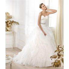 Princess Ball Gown  Sweetheart Feather Neckline Layered Organza Wedding Dress With Crystals