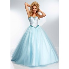Princess Ball Gown Sweetheart Light Baby Blue Tulle Beaded Prom Dress Corset Back