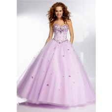 Princess Ball Gown Sweetheart Lilac Purple Satin Tulle Beaded Prom Dress Corset Back