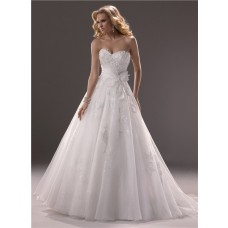 Princess Ball Gown Sweetheart Organza Lace Wedding Dress Corset Back