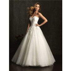 Princess Ball Gown Sweetheart Tulle Lace Corset Wedding Dress With Train