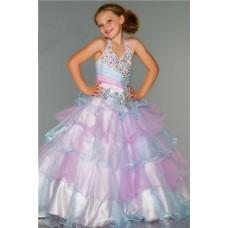 Princess Halter Aqua Pink Organza Tiered Ruffle Beaded Flower Girl Pageant Dress