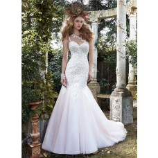 Princess Mermaid One Shoulder Tulle Lace Wedding Dress With Buttons